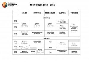 HORARIO DE ACTIVIDADES CURSO 2017-2018