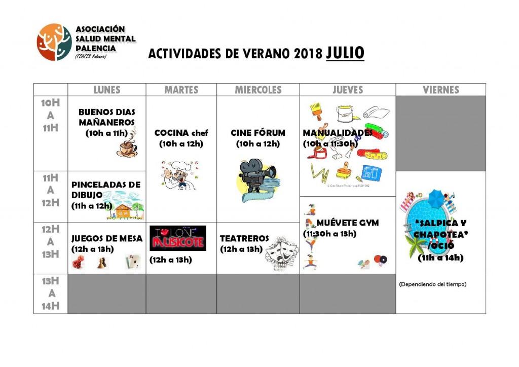 ACTIVIDADES CURSO VERANO 2018 julio