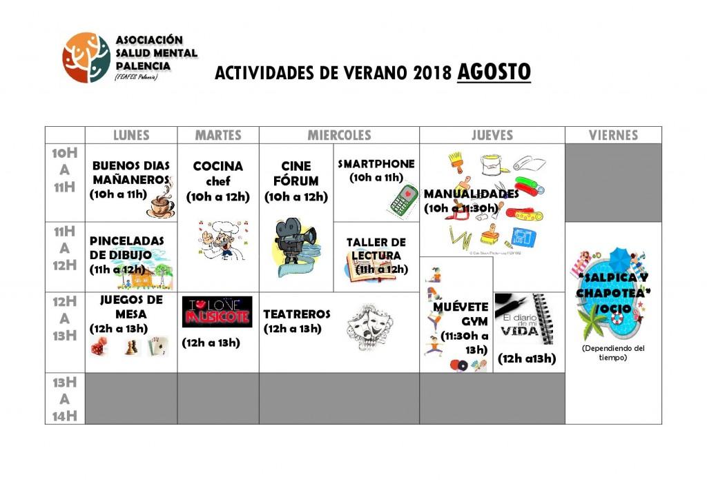 ACTIVIDADES CURSO VERANO 2018 agosto
