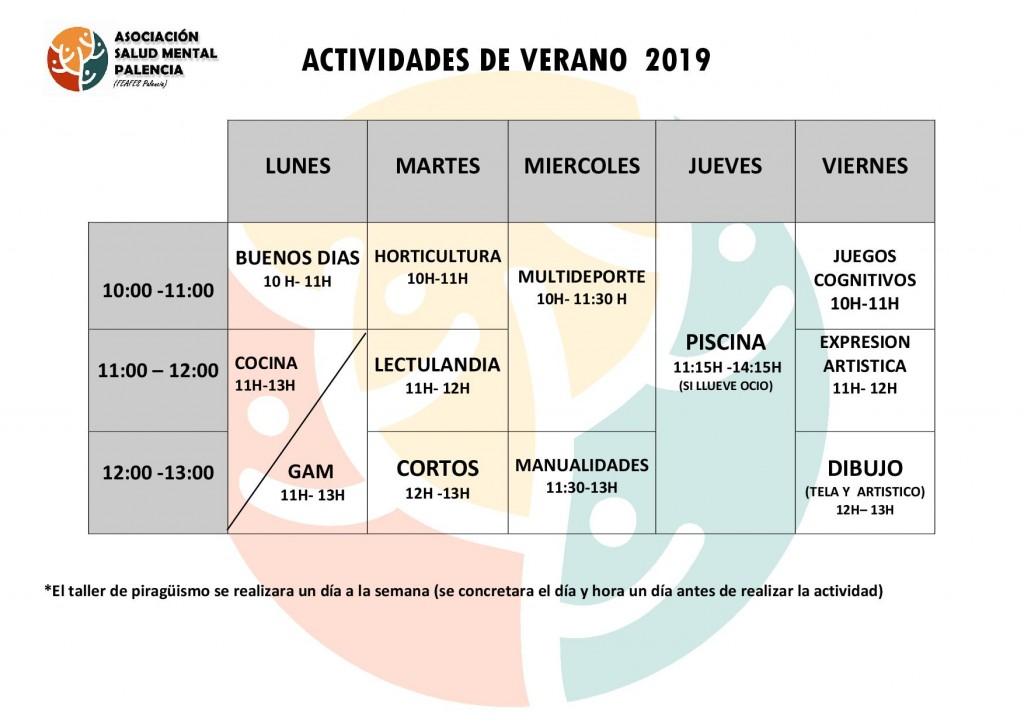 horario de tallers de verano 2019